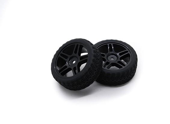 HobbyKing 1/10 roda / pneu Set AF Rally Estrela Spoke (Black) RC 26 milímetros carro (2pcs)