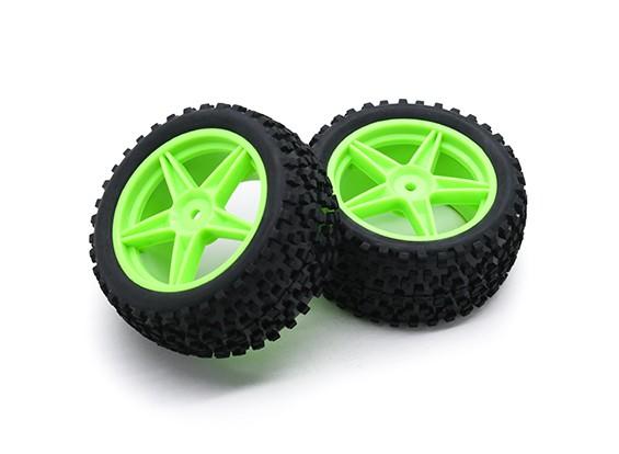 HobbyKing 1/10 Small Block 5 raios traseiro (verde) de roda / pneu 12 milímetros Hex (2pcs / saco)