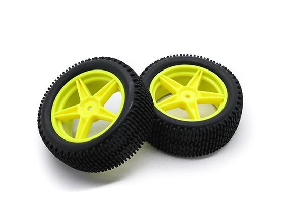 HobbyKing 1/10 gekkota 5 raios (amarelo) de roda / pneu 12 milímetros Hex (2pcs / bag)
