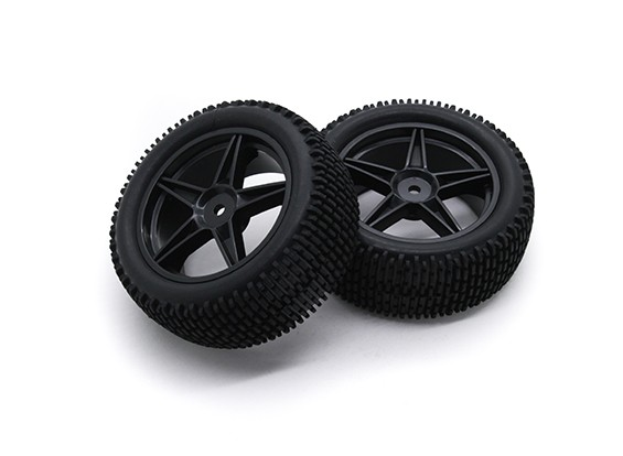 HobbyKing 1/10 gekkota 5 raios 12 milímetros / pneu (Black) Roda Hex