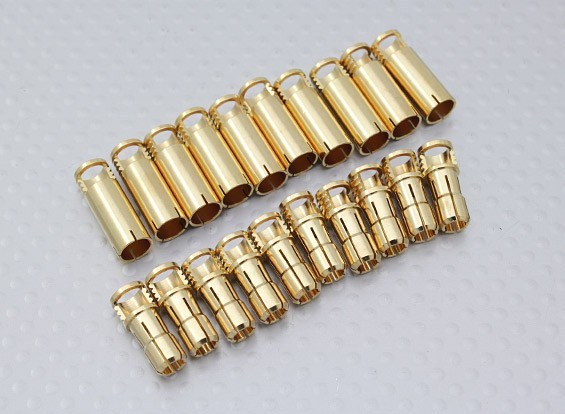 Conectores de bala 6 milímetros RCPROPLUS Supra X de ouro (10 pares)