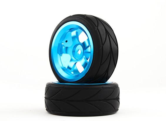 HobbyKing 1/10 alumínio 5 raios 12 milímetros Hex de rodas (azul) / V Tire 26 milímetros (2pcs / bag)