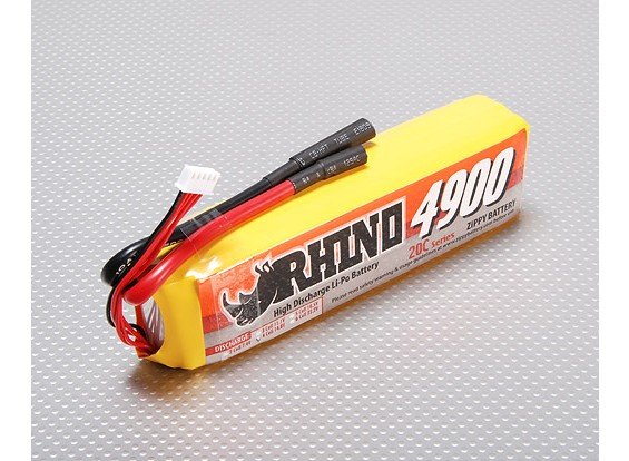 Rhino 4900mAh 4S1P 14.8v 20C Lipoly pacote