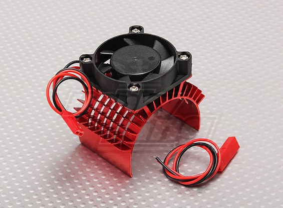 Motor dissipador de calor w / Fan Red alumínio (45 mm)