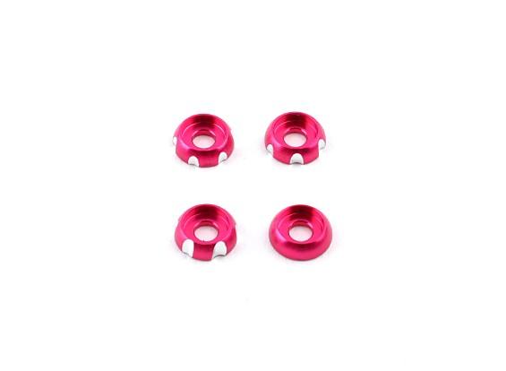 3 milímetros de alumínio CNC Roundhead Washer - rosa (4pcs)