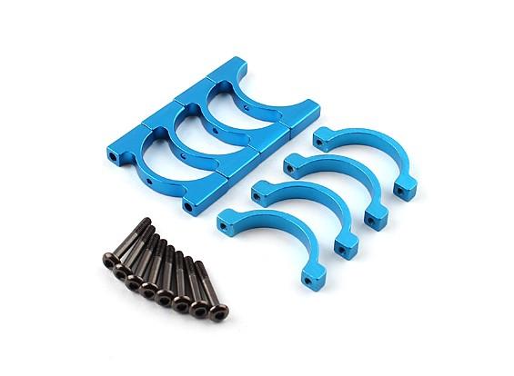 Azul anodizado de Face Única CNC alumínio Tubo braçadeira 22 milímetros de diâmetro