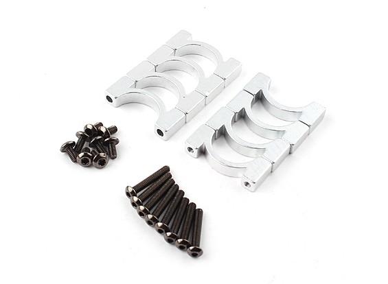 Anodizado prata dupla face CNC alumínio Tubo braçadeira 16 mm de diâmetro