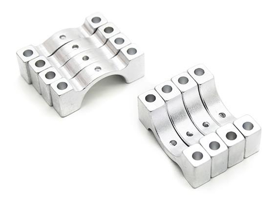 Prata anodizado CNC liga semicírculo braçadeira de tubo (incl. & Parafusos porcas) 14 milímetros