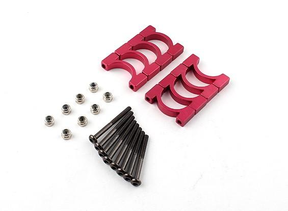 Red anodizado CNC Super Light Alloy diâmetro do tubo braçadeira de 16 milímetros (4set)