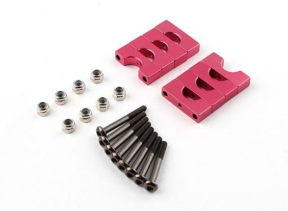Red anodizado Dupla Face Tubo CNC alumínio braçadeira 8 mm de diâmetro