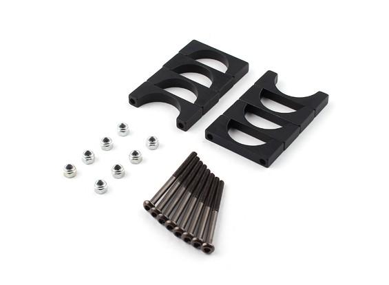 Anodizado preto Dupla Face CNC alumínio Tubo braçadeira 20 mm de diâmetro