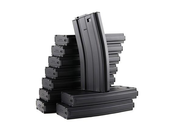 Rei de Armas 120b revistas rodada de metal para a série Marui M4 / M16 AEG (preto, 10pcs / box)