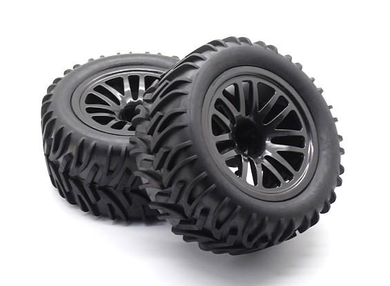 Pré-colados pneus Set - 1/10 Quanum Vandal XL 4WD Corrida Buggy (2pcs)