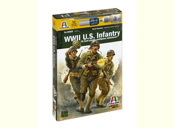 Italeri 1/56 Escala WWll US Infantaria Figura Militar Kit