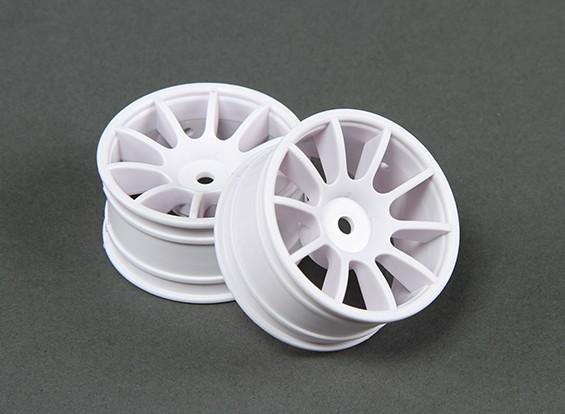 Passeio de 1/10 Mini 10 Spoke 0 milímetros roda de deslocamento - branco (2pcs)