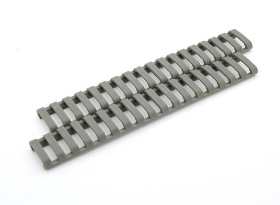 Ergo 18 slots Lowprofile tampa ferroviário Ladder (2pcs / bag, Folhagem verde)