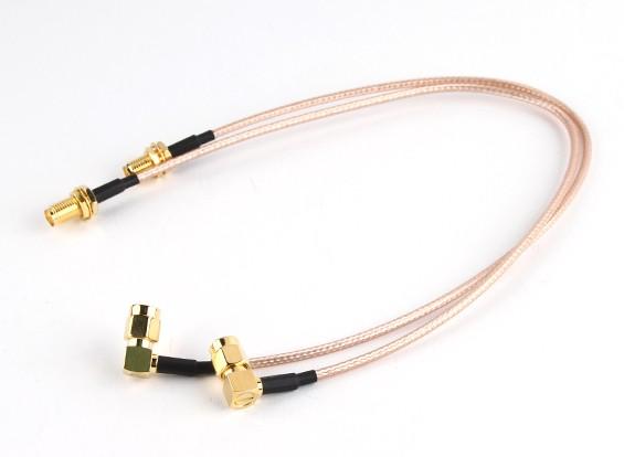 RP-SMA Plug com 90 graus Adapter <-> RP-SMA Jack 300 milímetros RG316 extensão (2pcs / set)