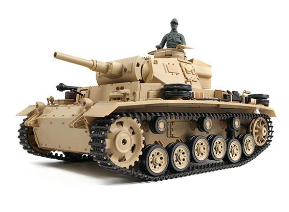 Panzer III Ausf.H (Desert Yellow) RC Tanque RTR w / Airsoft / Smoke & Tx (plug UE) (Warehouse UE)
