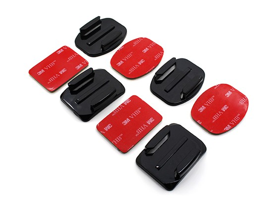 Mounts planas e Mounts curvas com Pads auto-adesivas para Turnigy Ação Cam / GoPro (2 x cada)