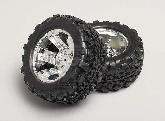 1/8 Monster Truck Wheel & Tyre 12 milímetros Hex (2pc)