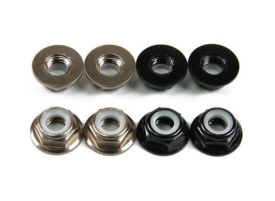 Aluminum Flange Low Profile Nyloc Porca M5 (4 Black CW & 4 CCW Titanium)