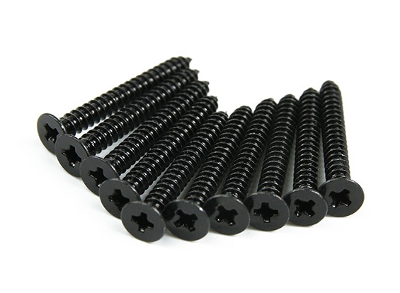 Screw Flat Head Phillips M2.6x22mm Self Tapping Steel Black (10pcs)