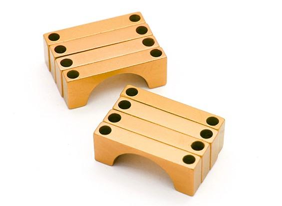 Tubo de ouro anodizado CNC Semicircunferência liga da braçadeira (incl.screws) 25 milímetros
