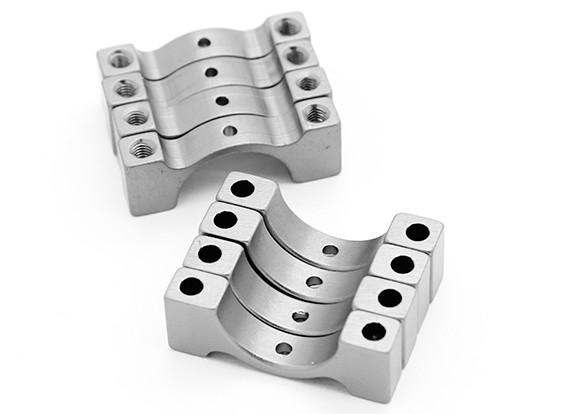 Prata anodizado CNC tubo de liga semicírculo grampo (incl.screws) 15 milímetros