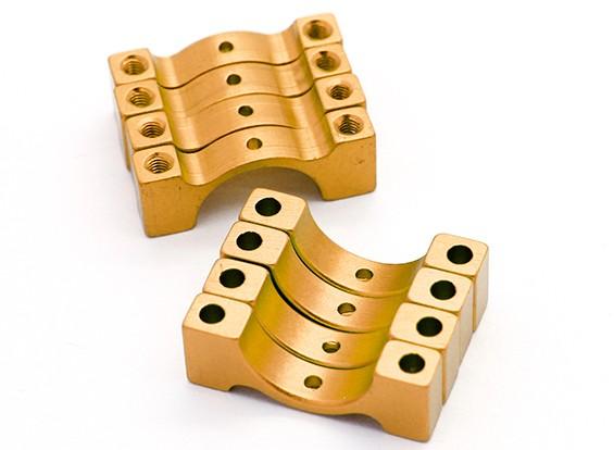 Ouro anodizado CNC tubo de liga semicírculo grampo (incl.screws) 15 milímetros
