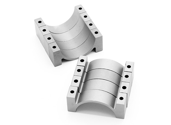 Prata anodizado CNC semicírculo Alloy tubo braçadeira (incl.screws) 22 milímetros