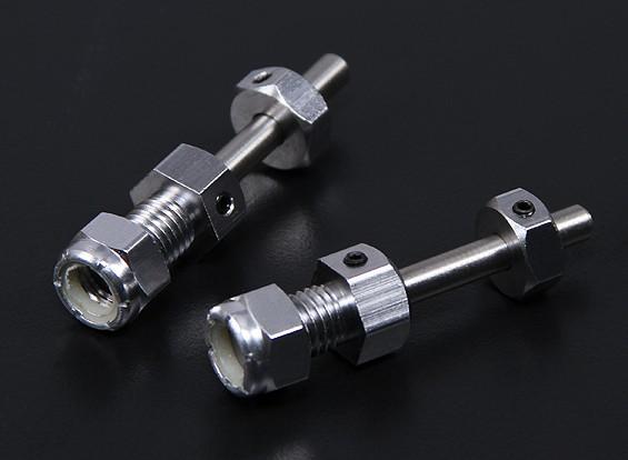 Pesado eixo da roda do dever com substituível 5 milímetros Pin (2pc)