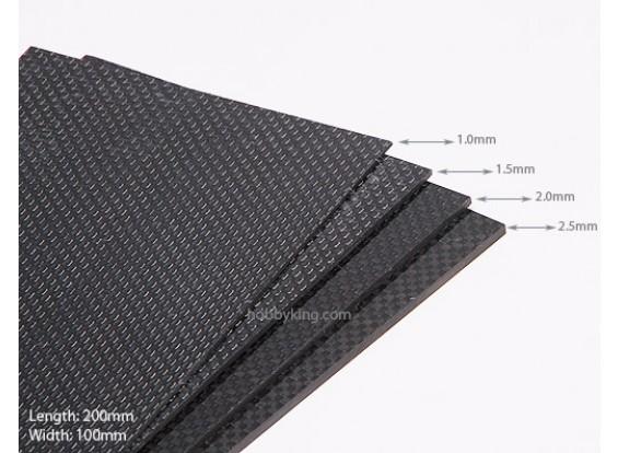 Tecido de fibra de carbono Folha de 200x100 (1,5 mm de espessura)
