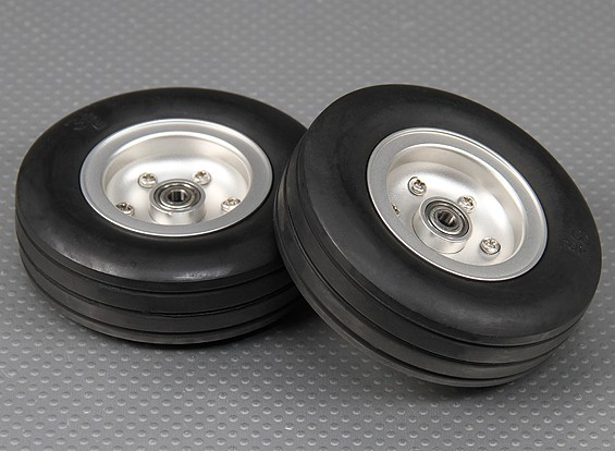 Escala Jet / Warbird Alloy 90 milímetros roda w / Canelado Rubber Tire / Ballraced (2pc)