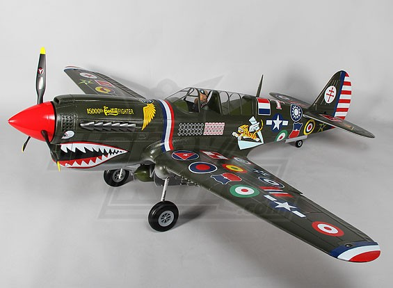 P-40N (verde) 6s escala gigante w / abas, luzes e retrai 1.700 milímetros EPO (Modo RTF- 1)