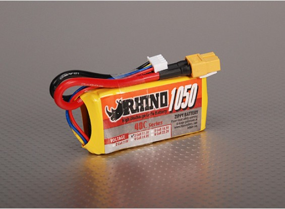 Rhino 1050mAh 3S 11.1v 40C Lipoly pacote