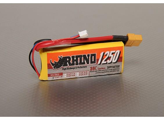 Rhino 1250mAh 2S 7.4V 30C Lipoly pacote