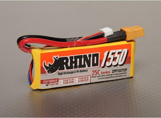 Rhino 1550mAh 2S1P 25C Lipoly pacote