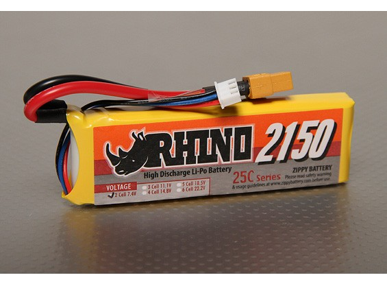 Rhino 2150mAh 2S 7.4V 25C Lipoly pacote