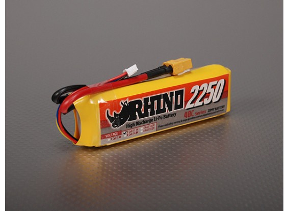 Rhino 2250mAh 3S 11.1v 40C Lipoly pacote