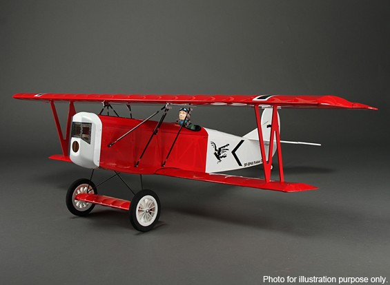 RISCO / DENT - Fokker D.VII Primeira Guerra Mundial Biplano Balsa 1200 mm (ARF)