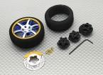 Alloy Pistol Transmissor Roda Rodar 6 dupla Spoke (azul)