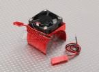 Motor dissipador de calor w / Fan Red alumínio (34 mm)