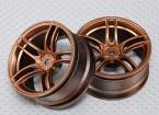 Escala 1:10 conjunto de rodas (2pcs) Bronze Dividir 5 raios RC 26 milímetros Car (3mm offset)