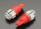 LED milho luz 12V 1.0W (5 LED) - Vermelho (2pcs)