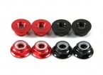 Aluminum Flange Low Profile Nyloc Porca M5 (4 Black CW & 4 Red CCW)