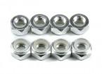 De alumínio de baixo perfil Nyloc Porca M5 prata (CW) 8pcs