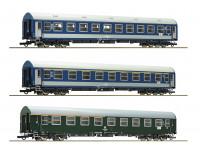 Roco/Fleischmann HO Scale 3 Piece D270 Meridian 1, DDR, MAV Passenger Carriage Set