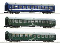Roco/Fleischmann HO Scale 3 Piece D270 Meridian 2, DDR, CSD, MAV Passenger Carriage Set