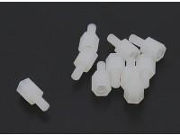5,6 milímetros x 12 milímetros M3 Nylon Threaded Spacer (10pc)
