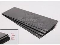 Tecido de fibra de carbono Folha de 300x100 (2.5MM Grosso)